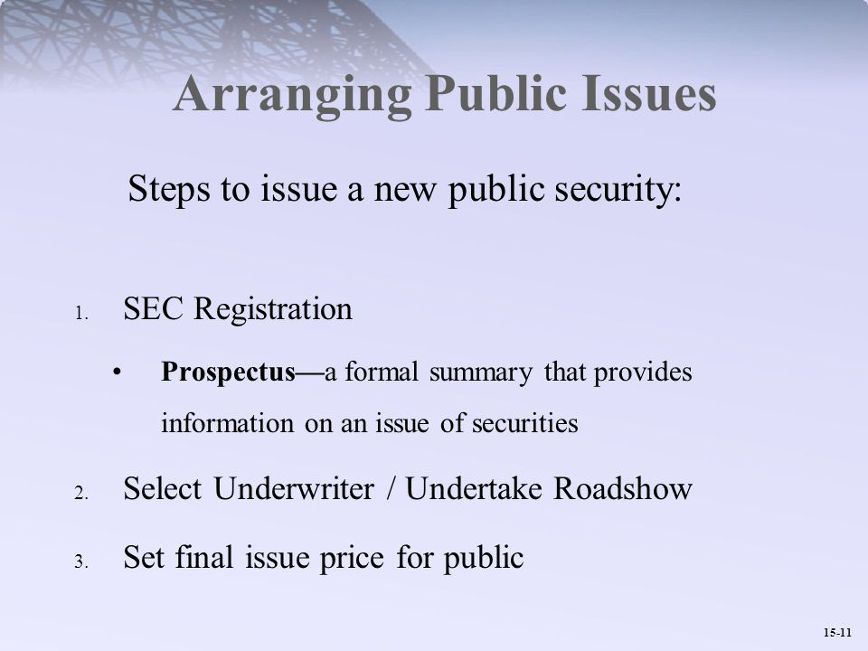15-11 Arranging Public Issues Steps to issue a new public security: 1.