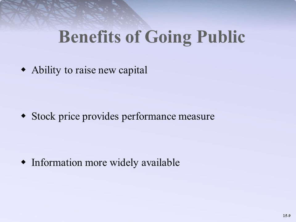15-9 Benefits of Going Public  Ability to raise new capital  Stock price provides performance measure  Information more widely available