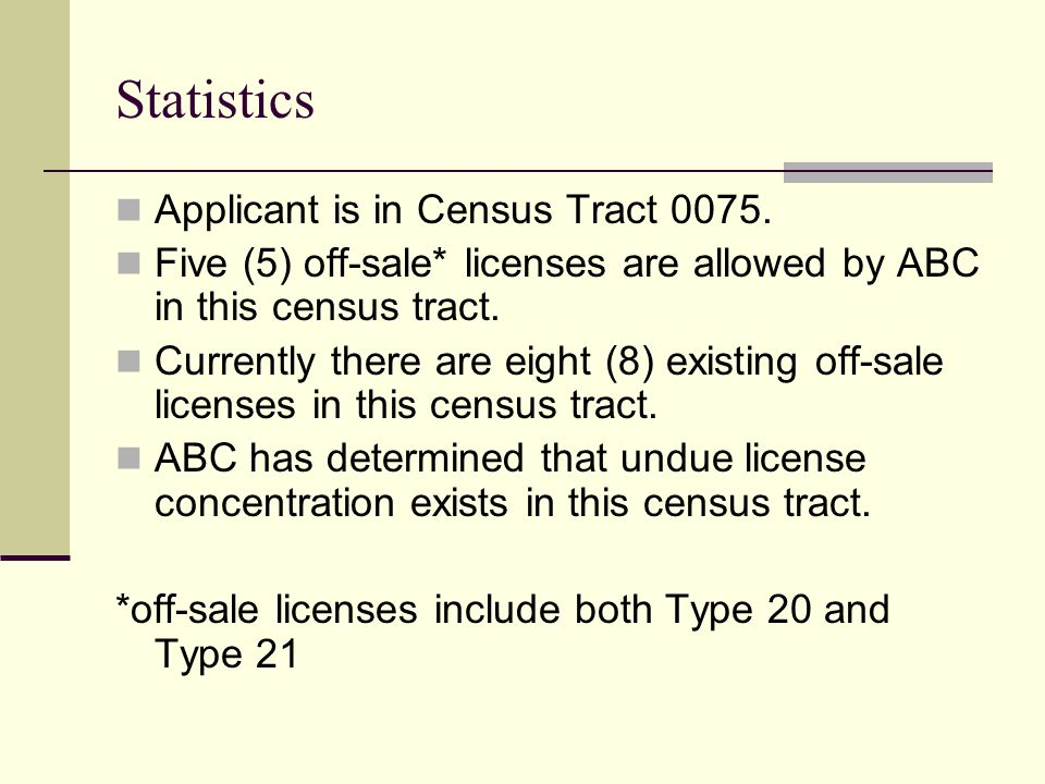 Statistics Applicant is in Census Tract 0075.