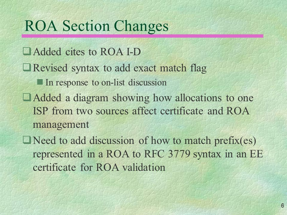 6 ROA Section Changes  Added cites to ROA I-D  Revised syntax to add exact match flag In response to on-list discussion  Added a diagram showing ho