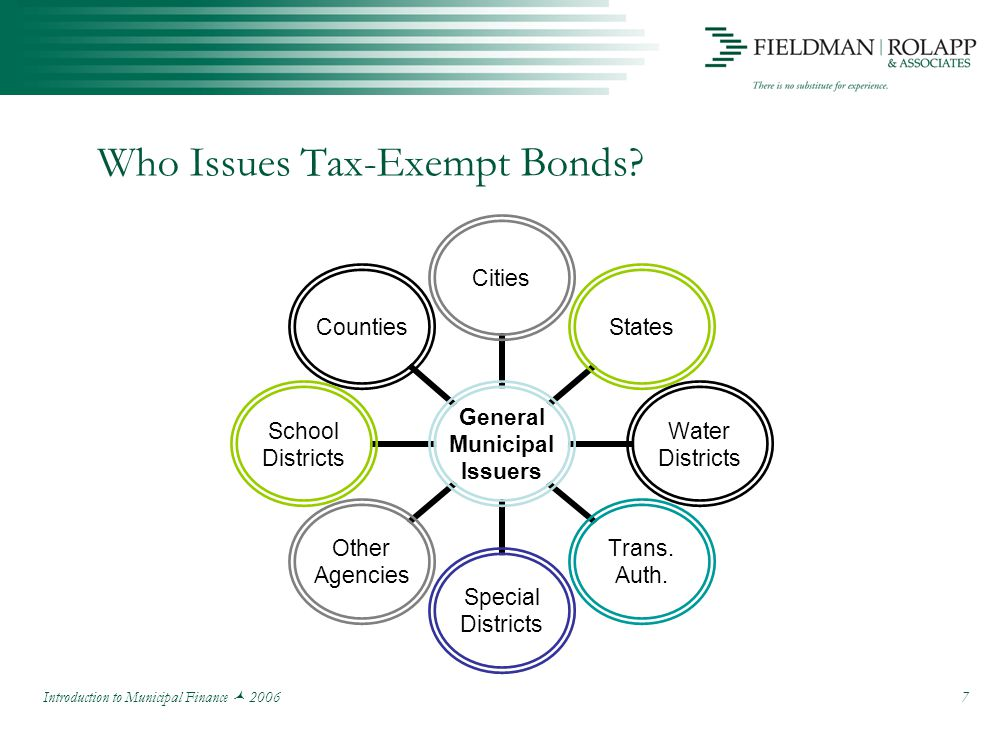Introduction to Municipal Finance 2006 7 Who Issues Tax-Exempt Bonds.