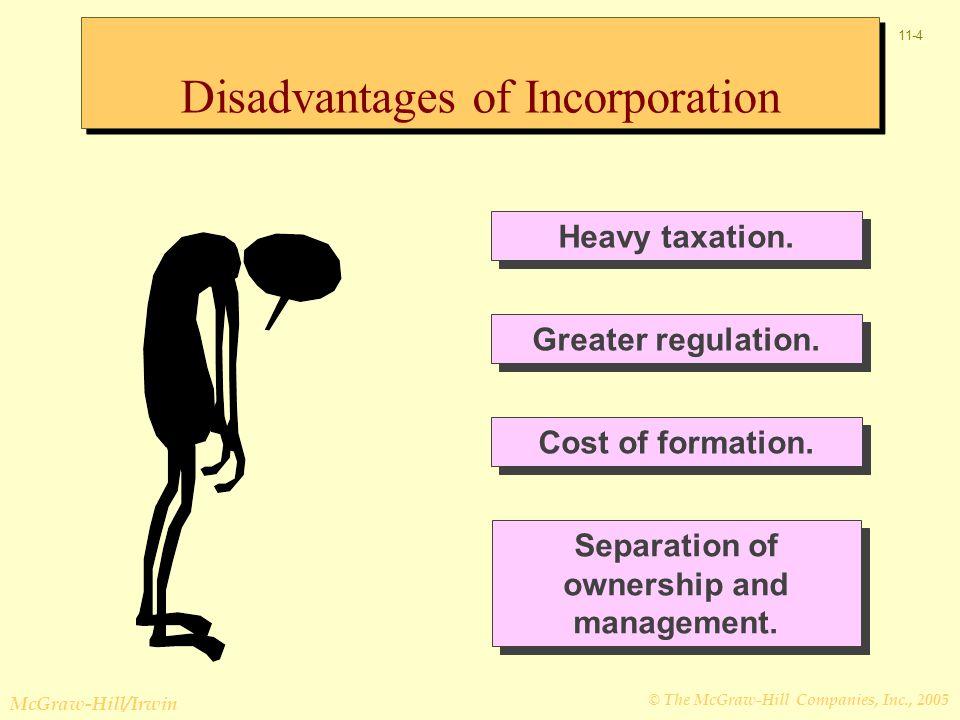 © The McGraw-Hill Companies, Inc., 2005 McGraw-Hill/Irwin 11-4 Heavy taxation.