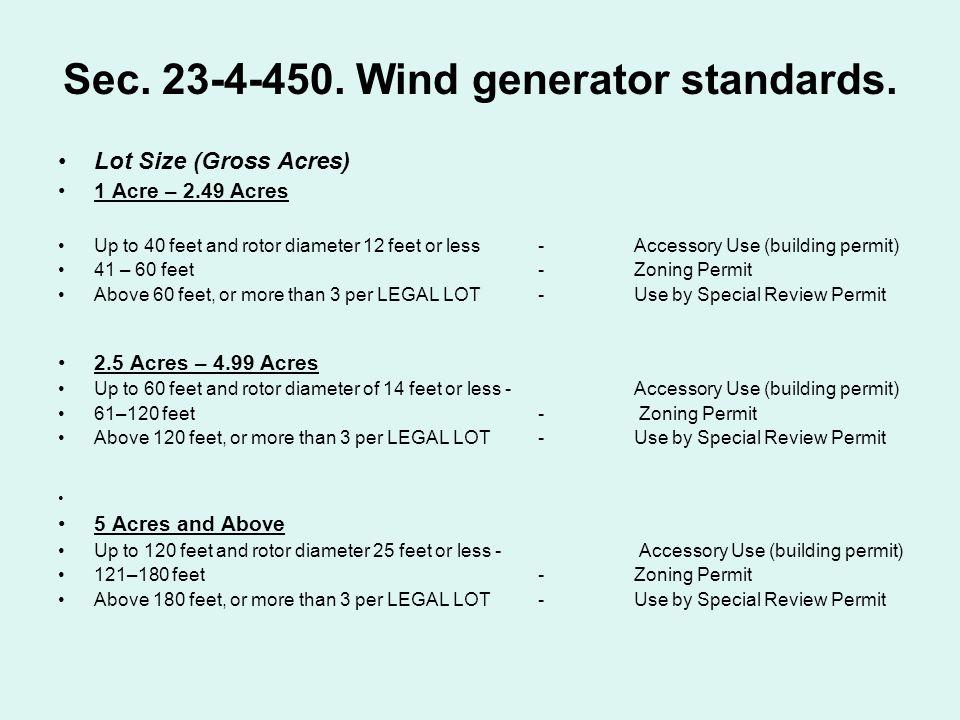 Sec.23-4-450. Wind generator standards.