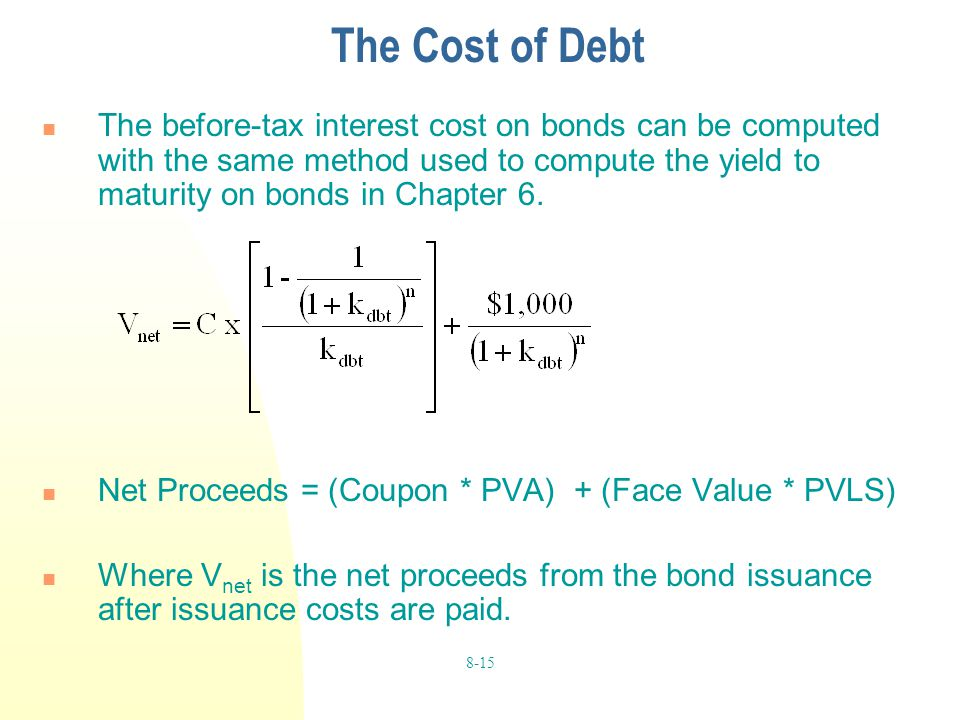 8-15 The Cost of Debt The before-tax interest cost on bonds can be computed with the same method used to compute the yield to maturity on bonds in Cha