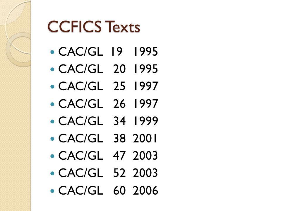 CCFICS Texts CAC/GL 19 1995 CAC/GL 20 1995 CAC/GL 25 1997 CAC/GL 26 1997 CAC/GL 34 1999 CAC/GL 38 2001 CAC/GL 47 2003 CAC/GL 52 2003 CAC/GL 60 2006