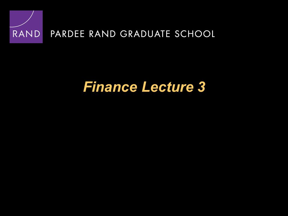 Finance Lecture 3
