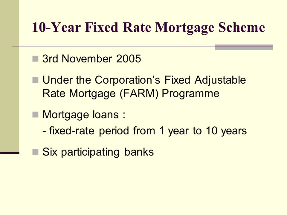 10-Year Fixed Rate Mortgage Scheme 3rd November 2005 Under the Corporation's Fixed Adjustable Rate Mortgage (FARM) Programme Mortgage loans : - fixed-rate period from 1 year to 10 years Six participating banks