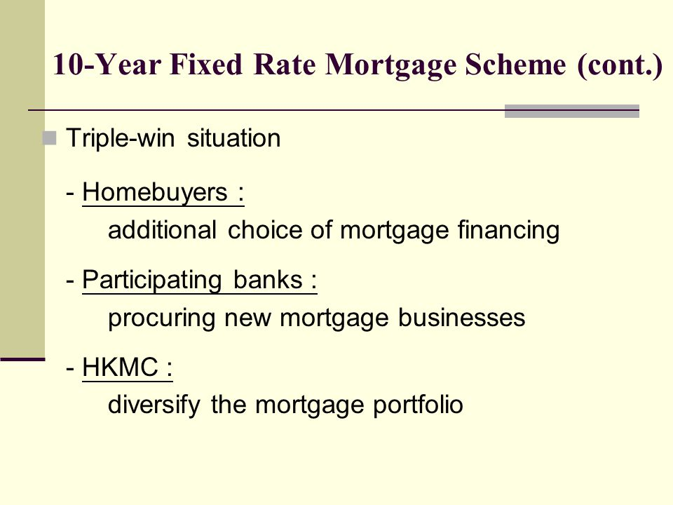 10-Year Fixed Rate Mortgage Scheme (cont.) Triple-win situation - Homebuyers : additional choice of mortgage financing - Participating banks : procuring new mortgage businesses - HKMC : diversify the mortgage portfolio