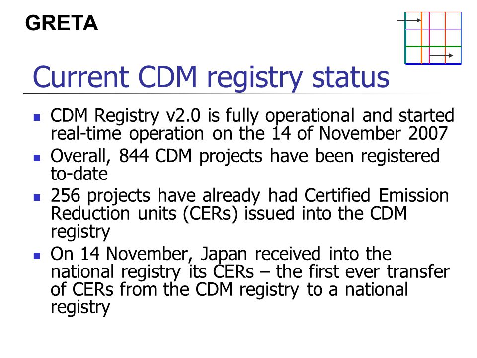 GRETA Current CDM registry status CDM Registry v2.0 is fully operational and started real-time operation on the 14 of November 2007 Overall, 844 CDM projects have been registered to-date 256 projects have already had Certified Emission Reduction units (CERs) issued into the CDM registry On 14 November, Japan received into the national registry its CERs – the first ever transfer of CERs from the CDM registry to a national registry