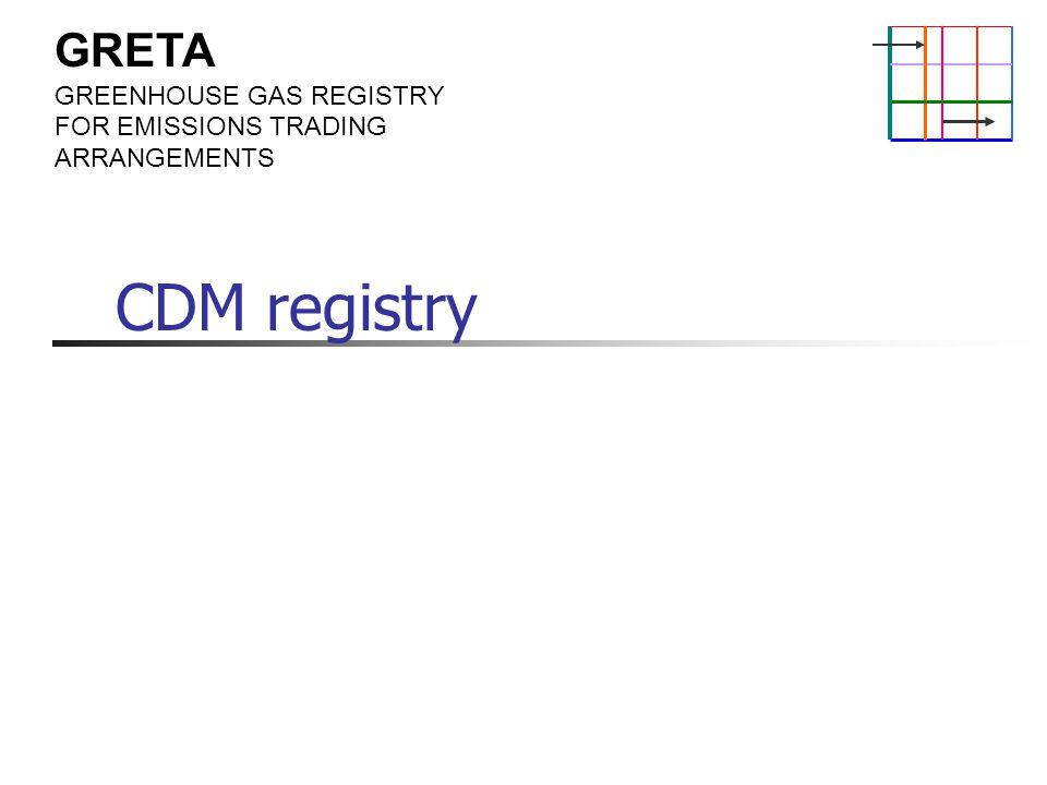 GRETA GREENHOUSE GAS REGISTRY FOR EMISSIONS TRADING ARRANGEMENTS CDM registry
