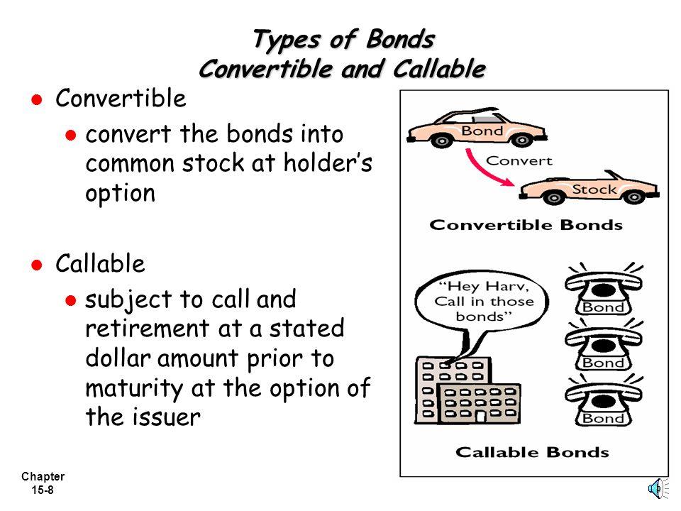 Chapter 15-7 Types of Bonds: Term and Serial Bonds 3) Term bonds - bonds that mature at a single specified future date 4) Serial bonds - bonds that ma