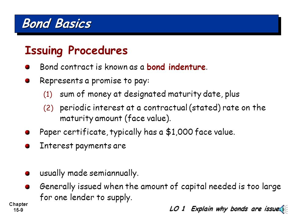 Chapter 15-8 Types of Bonds Convertible and Callable Convertible convert the bonds into common stock at holder's option Callable subject to call and r