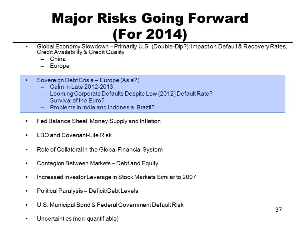 37 Major Risks Going Forward (For 2014) Global Economy Slowdown – Primarily U.S.