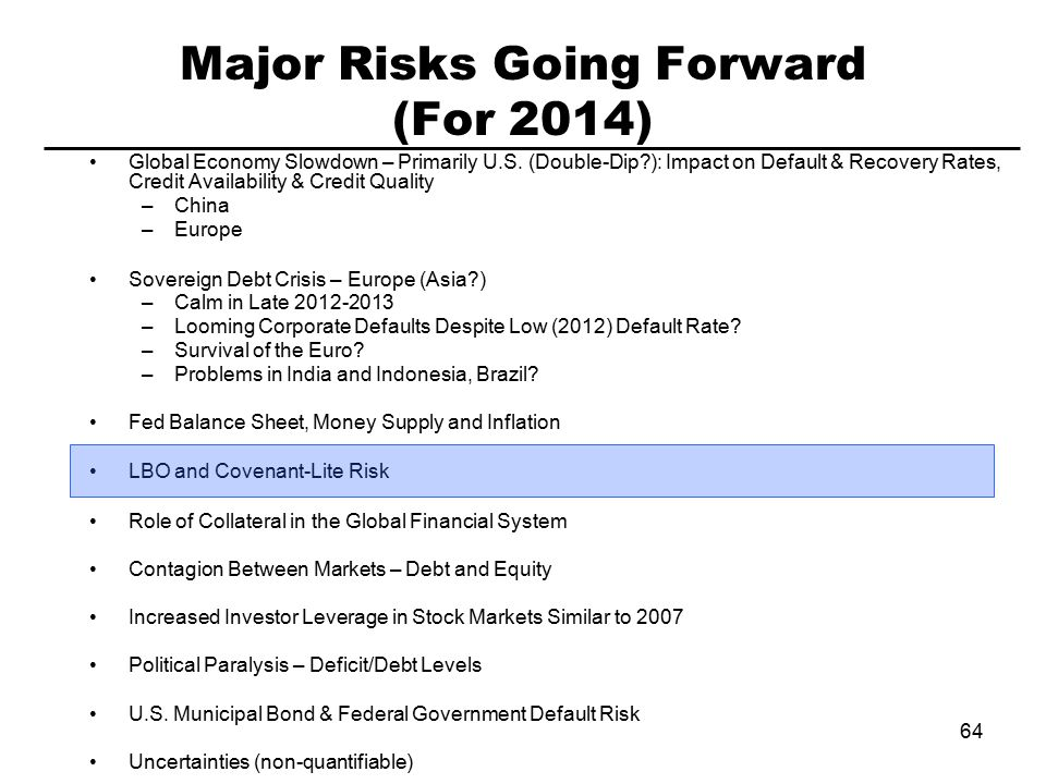 64 Major Risks Going Forward (For 2014) Global Economy Slowdown – Primarily U.S.