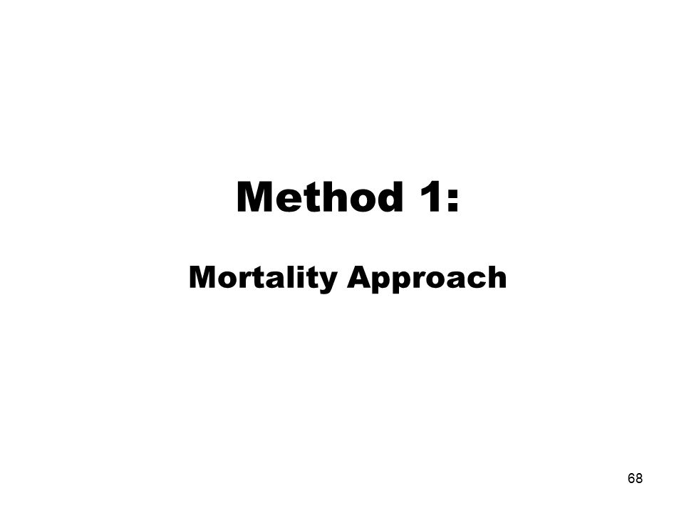 Method 1: Mortality Approach 68