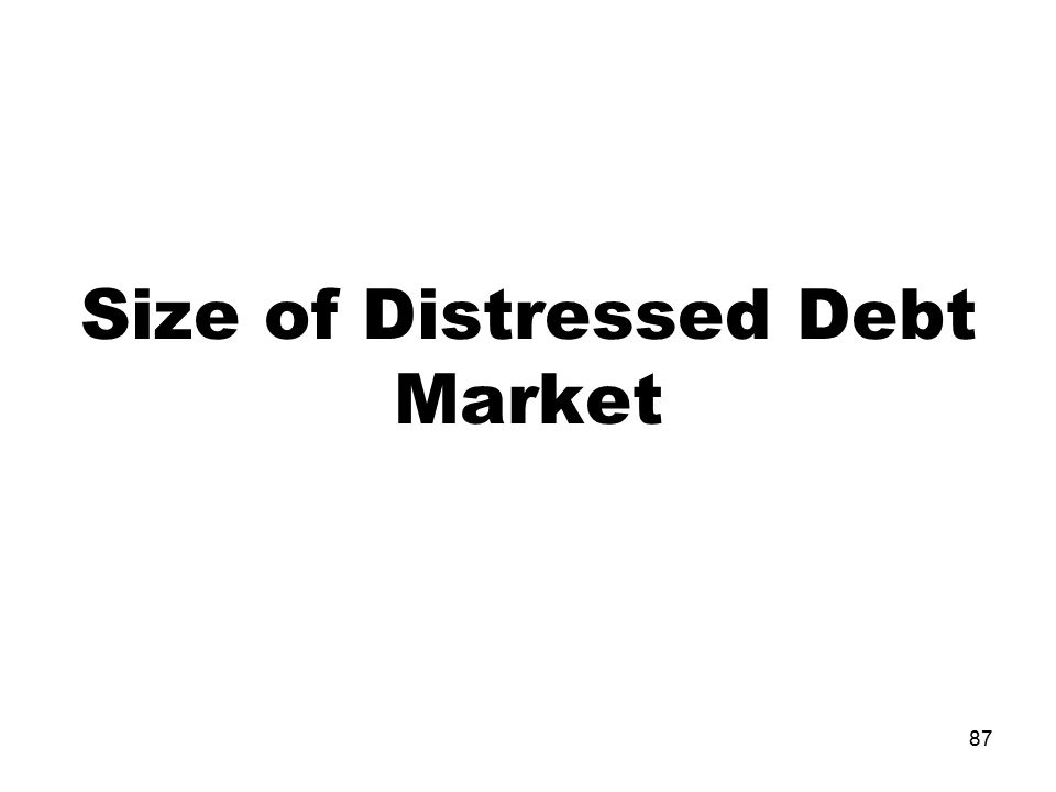 Size of Distressed Debt Market 87