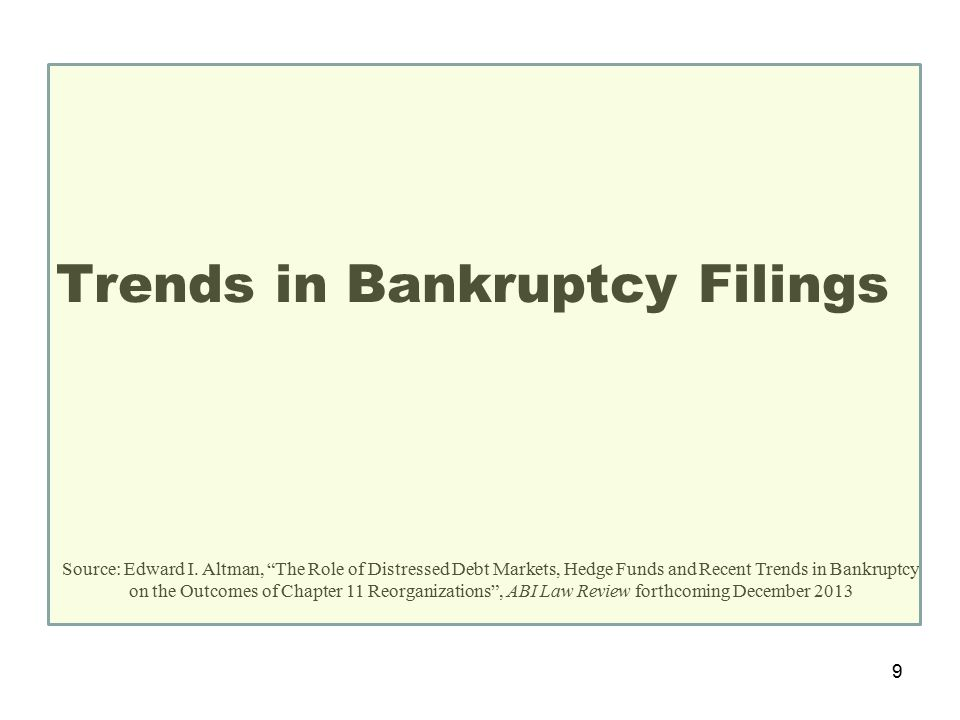 Trends in Bankruptcy Filings Source: Edward I.