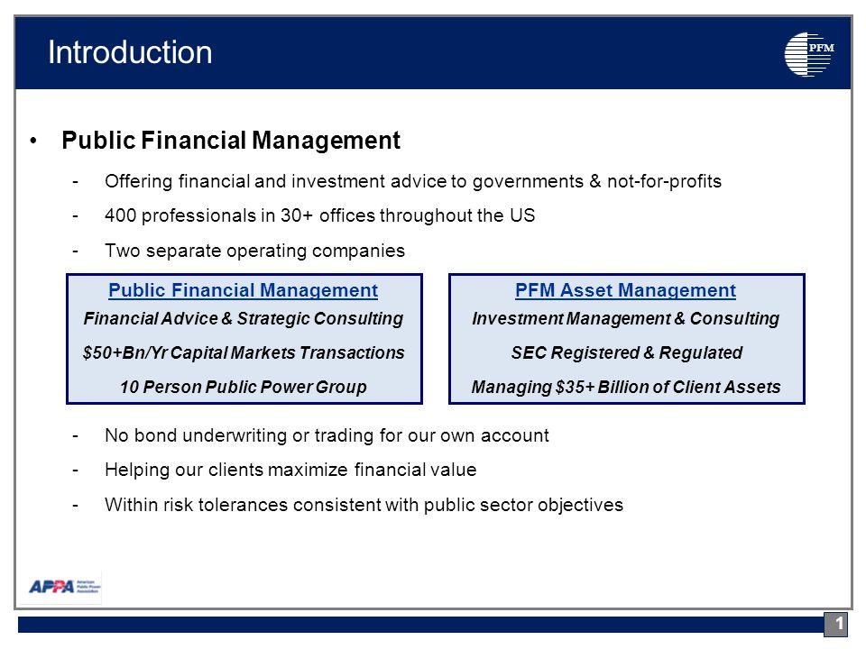 PFM I.Why Do Utilities Issue Debt.
