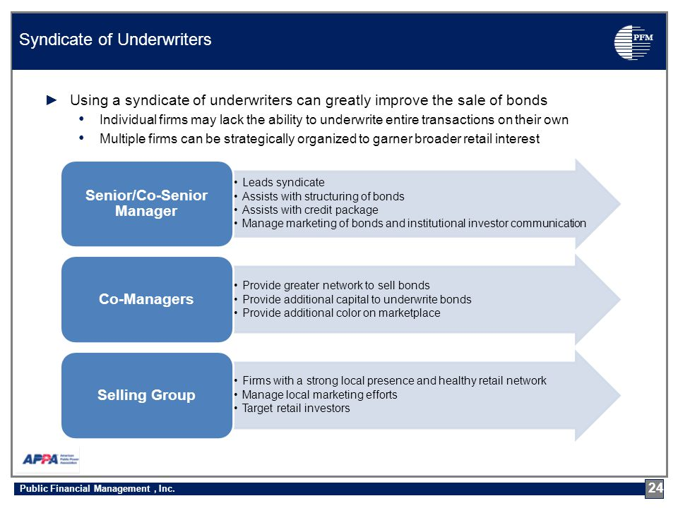 PFM ►Using a syndicate of underwriters can greatly improve the sale of bonds Individual firms may lack the ability to underwrite entire transactions on their own Multiple firms can be strategically organized to garner broader retail interest Syndicate of Underwriters 24 Leads syndicate Assists with structuring of bonds Assists with credit package Manage marketing of bonds and institutional investor communication Senior/Co-Senior Manager Provide greater network to sell bonds Provide additional capital to underwrite bonds Provide additional color on marketplace Co-Managers Firms with a strong local presence and healthy retail network Manage local marketing efforts Target retail investors Selling Group Public Financial Management, Inc.