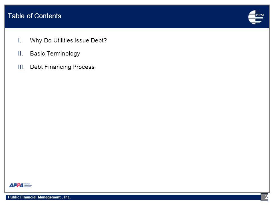 PFM Why Do Utilities Issue Debt? 3