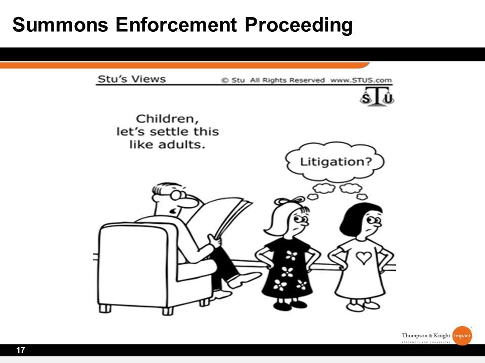 17 Summons Enforcement Proceeding