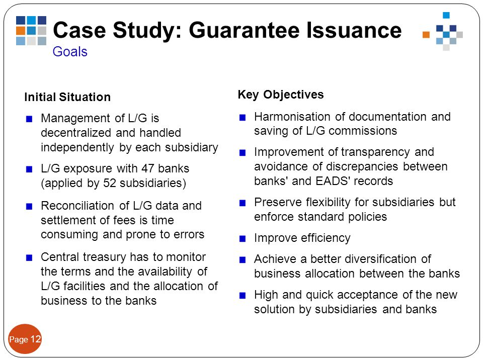 Page 12 Initial Situation Management of L/G is decentralized and handled independently by each subsidiary L/G exposure with 47 banks (applied by 52 su
