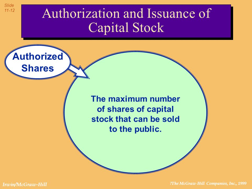 ?The McGraw-Hill Companies, Inc., 1999 Slide 11-12 Irwin/McGraw-Hill Authorization and Issuance of Capital Stock The maximum number of shares of capit