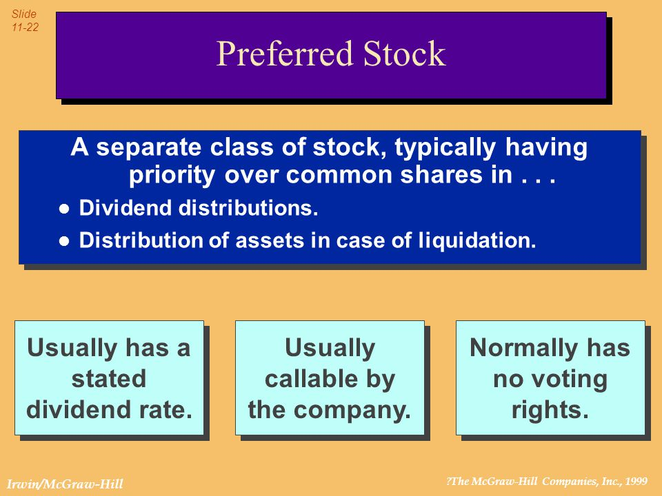 ?The McGraw-Hill Companies, Inc., 1999 Slide 11-22 Irwin/McGraw-Hill Preferred Stock A separate class of stock, typically having priority over common