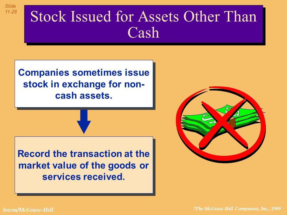 ?The McGraw-Hill Companies, Inc., 1999 Slide 11-28 Irwin/McGraw-Hill Stock Issued for Assets Other Than Cash Companies sometimes issue stock in exchan