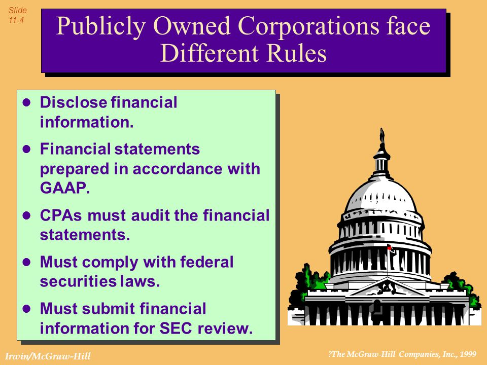 ?The McGraw-Hill Companies, Inc., 1999 Slide 11-4 Irwin/McGraw-Hill l Disclose financial information. l Financial statements prepared in accordance wi