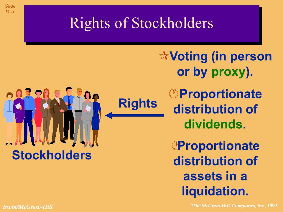 ?The McGraw-Hill Companies, Inc., 1999 Slide 11-6 Irwin/McGraw-Hill Rights of Stockholders Ultimate control Stockholders usually meet once a year.