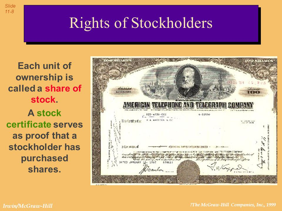 ?The McGraw-Hill Companies, Inc., 1999 Slide 11-9 Irwin/McGraw-Hill When the stock is sold, the stockholder signs a transfer endorsement on the back of the stock certificate.