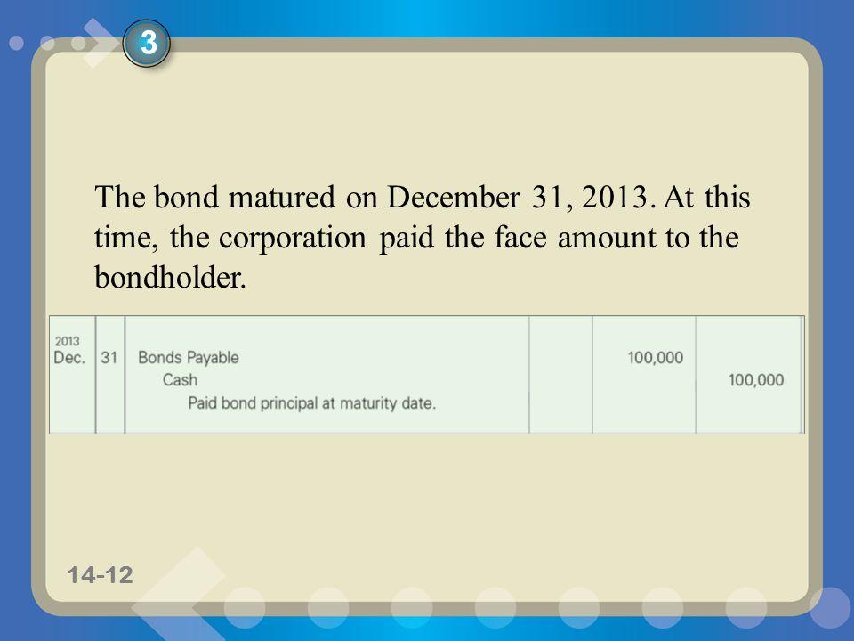 11-1214-12 The bond matured on December 31, 2013.