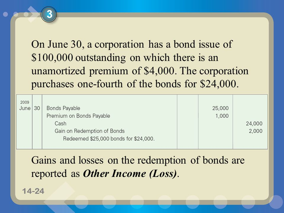 11-2414-24 On June 30, a corporation has a bond issue of $100,000 outstanding on which there is an unamortized premium of $4,000.