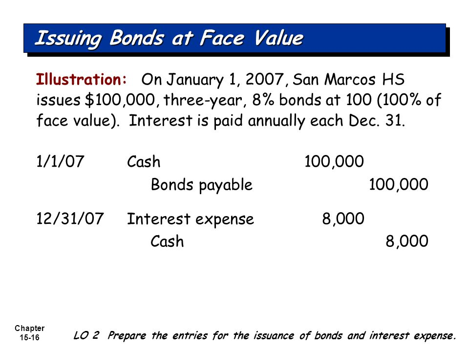 Chapter 15-16 Illustration: On January 1, 2007, San Marcos HS issues $100,000, three-year, 8% bonds at 100 (100% of face value). Interest is paid annu