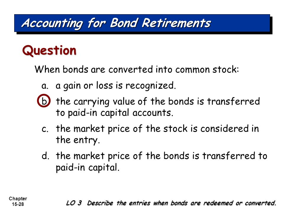 Chapter 15-28 When bonds are converted into common stock: a.a gain or loss is recognized. b.the carrying value of the bonds is transferred to paid-in