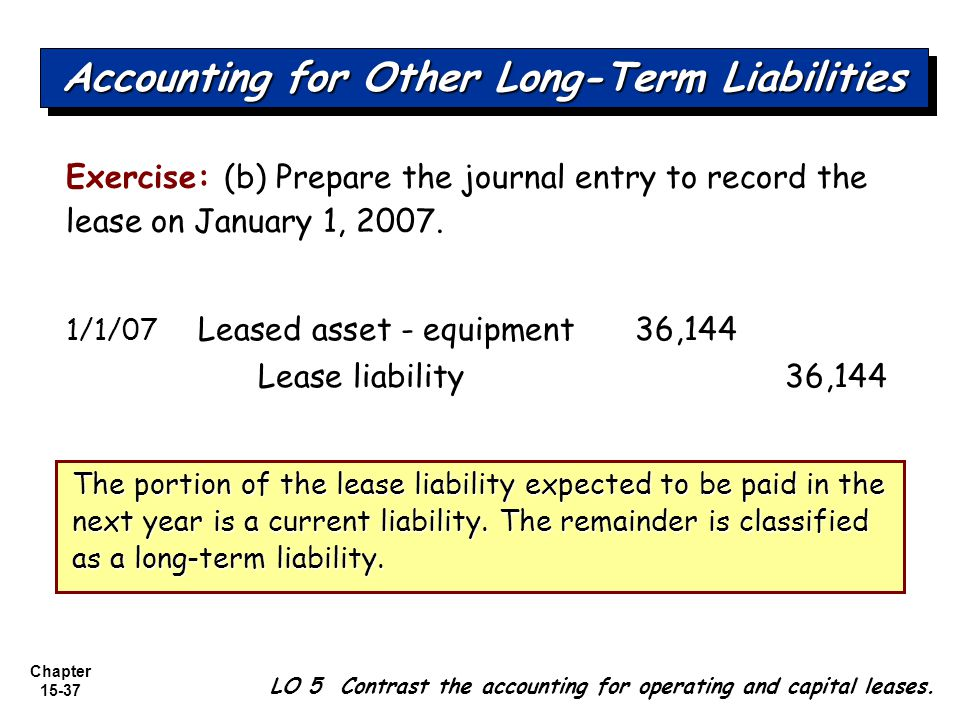 Chapter 15-37 Exercise: (b) Prepare the journal entry to record the lease on January 1, 2007. 1/1/07 Leased asset - equipment 36,144 Lease liability36