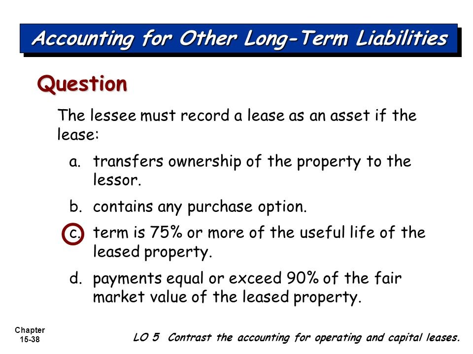 Chapter 15-38 The lessee must record a lease as an asset if the lease: a.transfers ownership of the property to the lessor. b.contains any purchase op