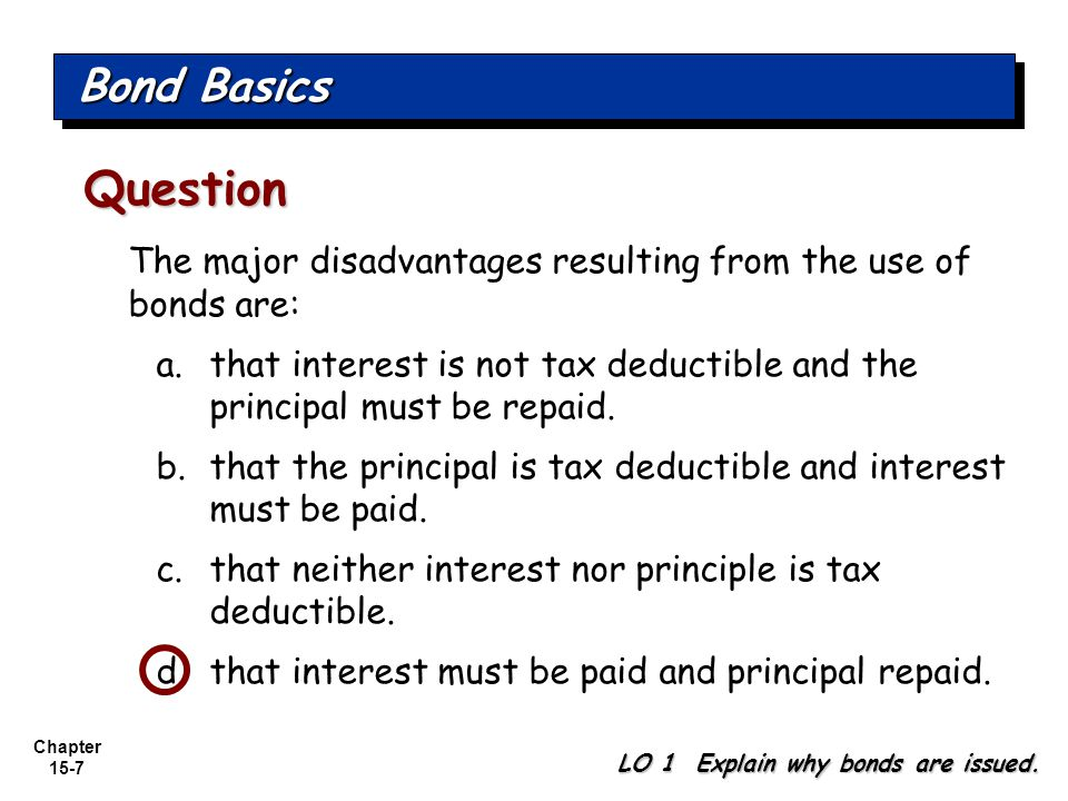 Chapter 15-7 The major disadvantages resulting from the use of bonds are: a.that interest is not tax deductible and the principal must be repaid. b.th