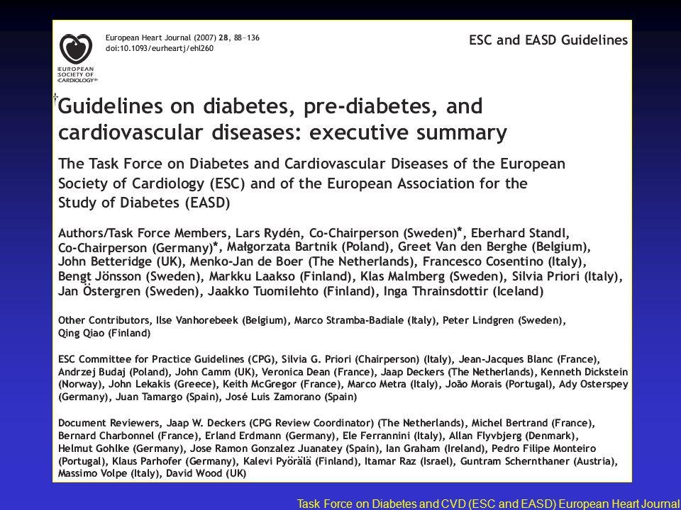 Task Force on Diabetes and CVD (ESC and EASD) European Heart Journal 2007;28:88-136