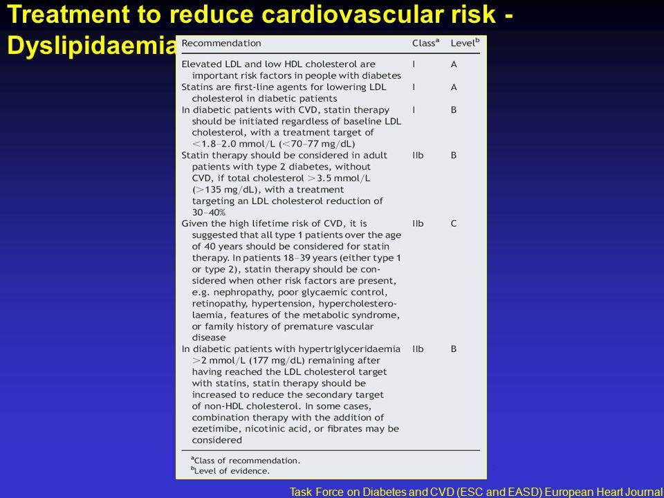 Treatment to reduce cardiovascular risk - Dyslipidaemia Task Force on Diabetes and CVD (ESC and EASD) European Heart Journal 2007;28:88-136