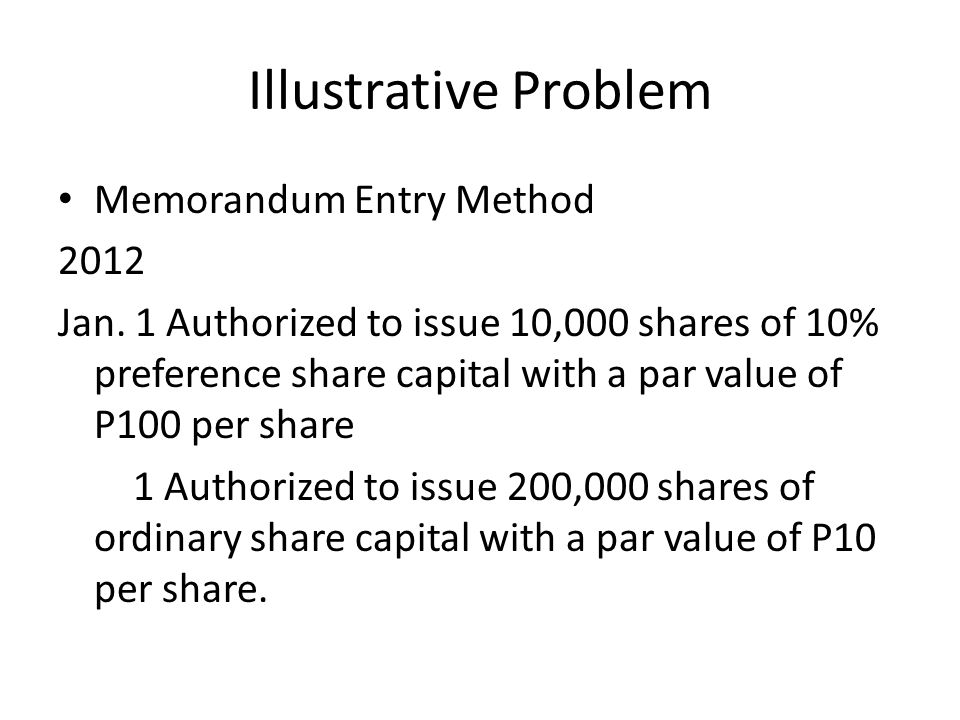 Illustrative Problem Memorandum Entry Method 2012 Jan.