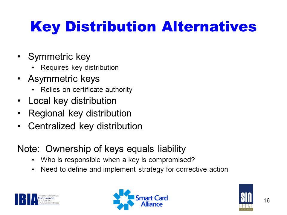 16 Key Distribution Alternatives Symmetric key Requires key distribution Asymmetric keys Relies on certificate authority Local key distribution Region