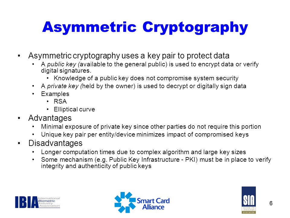 6 Asymmetric Cryptography Asymmetric cryptography uses a key pair to protect data A public key (available to the general public) is used to encrypt da