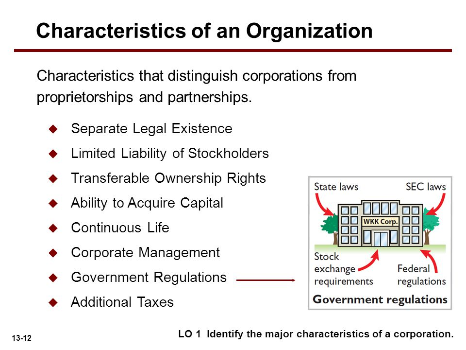 13-12  Separate Legal Existence  Limited Liability of Stockholders  Transferable Ownership Rights  Ability to Acquire Capital  Continuous Life 