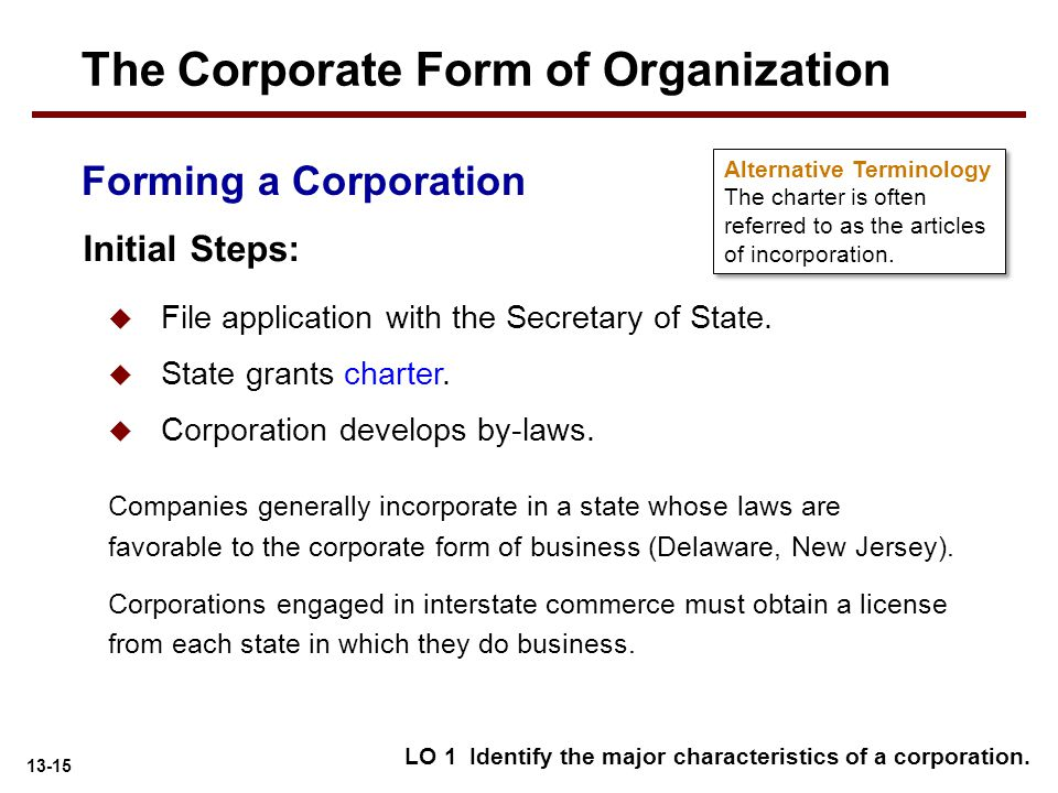 13-15 Forming a Corporation  File application with the Secretary of State.  State grants charter.  Corporation develops by-laws. Initial Steps: Com