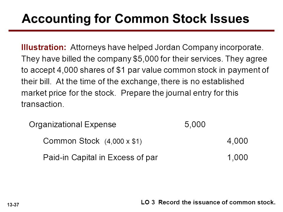 13-37 Illustration: Attorneys have helped Jordan Company incorporate. They have billed the company $5,000 for their services. They agree to accept 4,0