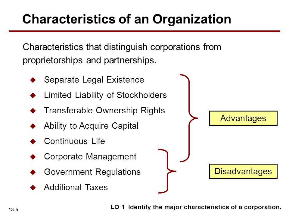 13-5 Characteristics that distinguish corporations from proprietorships and partnerships. LO 1 Identify the major characteristics of a corporation. Ad