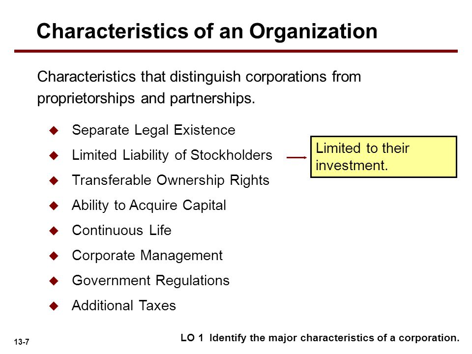 13-7 LO 1 Identify the major characteristics of a corporation. Limited to their investment. Characteristics that distinguish corporations from proprie