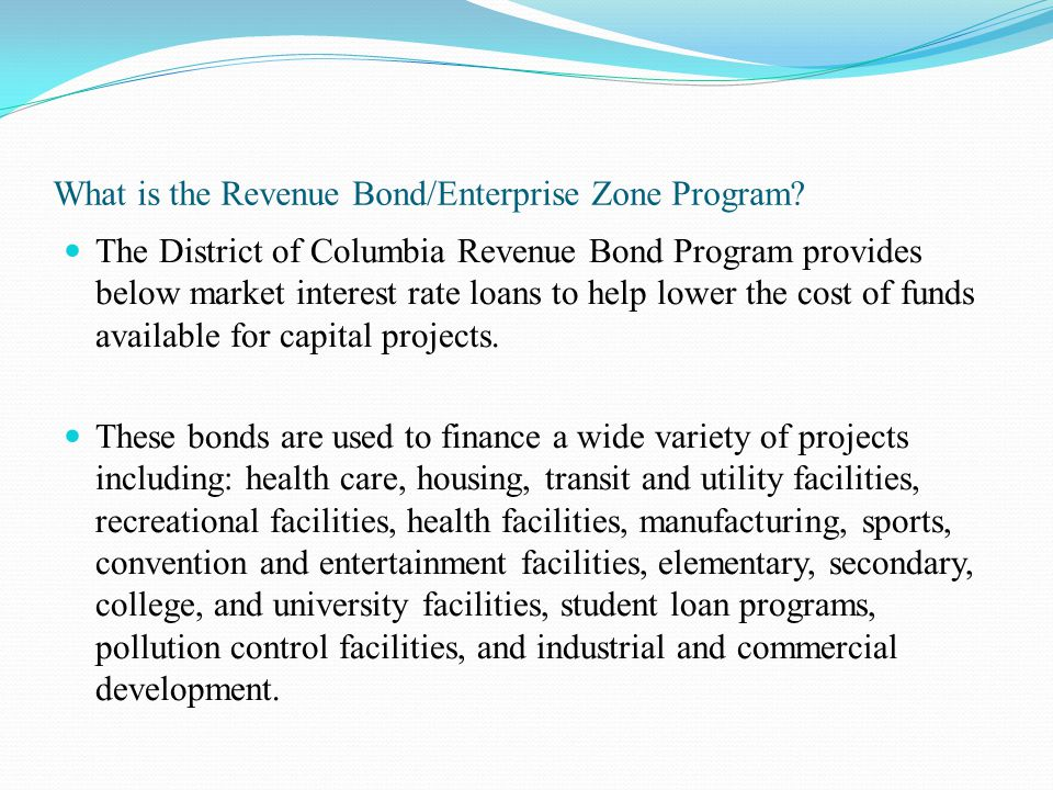 What is the Revenue Bond/Enterprise Zone Program.